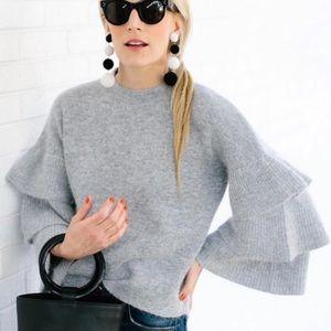 Endless Rose gray flutter sleeve sweater ❤️